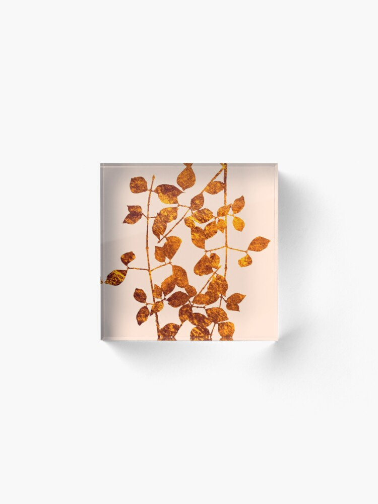 Alternate view of fall golden leaves Acrylic Block