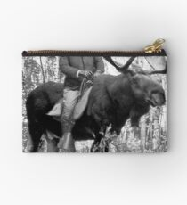 Teddy Roosevelt Riding A Bull Moose Studio Pouch