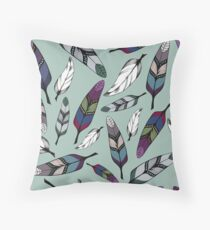 Colorful tribal feathers on mint background. Vector illustration print Throw Pillow