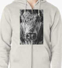 English Longhorn Bull Zipped Hoodie