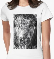 English Longhorn Bull Women's Fitted T-Shirt