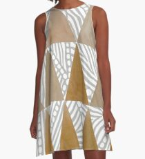 Natural Tribal Watercolor Triangles A-Line Dress