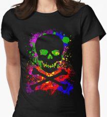 Paint Splatter Skull Women's Fitted T-Shirt