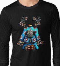 Asia Blue on Black TShirt by Karin Taylor Long Sleeve T-Shirt