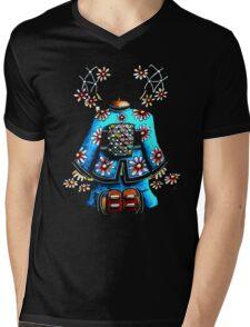 Asia Blue on Black TShirt by Karin Taylor Mens V-Neck T-Shirt
