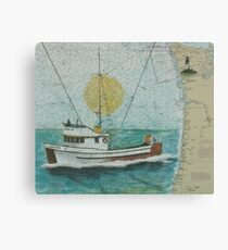 CARINA Fishing Boat Cathy Peek Nautical Chart Map WA Canvas Print