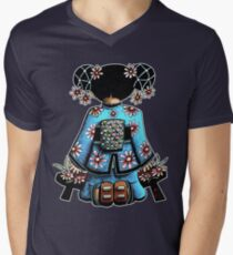 Asia Blue Doll (large design) Men's V-Neck T-Shirt