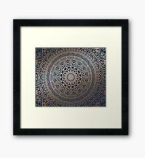 Boho Navy and Rose Gold Mandala Framed Print