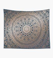Boho Navy and Rose Gold Mandala Wall Tapestry