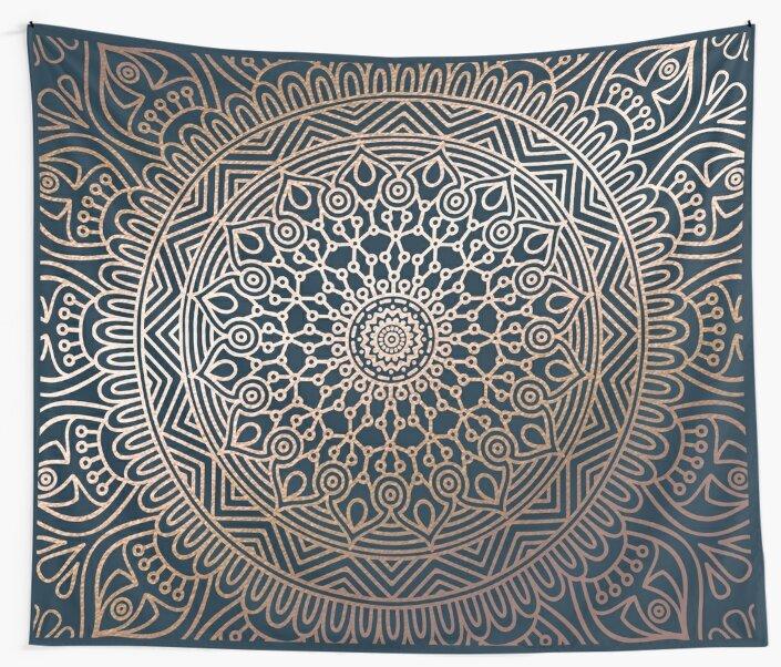 Boho Navy And Rose Gold Mandala By Royal Sass
