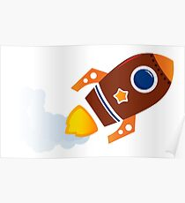 Cartoon spaceship isolated on white Poster