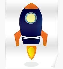 Blue Rocket ship. Vector cartoon Poster