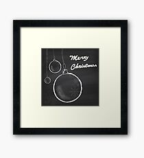 Christmas greeting card with hanging balls. Framed Print