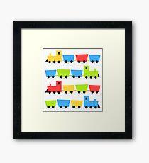 Cute colorful vehicles set cartoon Illustration Framed Print
