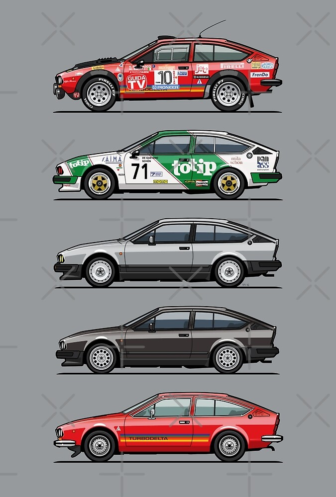 Stack of Alfa Romeo Alfetta GT and GTV6 by Tom Mayer