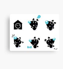 Cute style vector icons. Little black Dogs Canvas Print