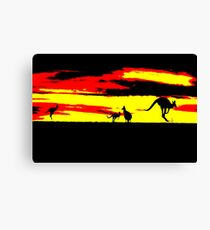 Kangaroos silhouettes at Sunset Canvas Print