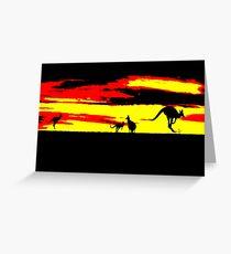 Kangaroos silhouettes at Sunset Greeting Card