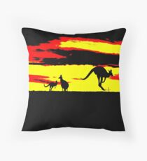 Kangaroos silhouettes at Sunset Throw Pillow