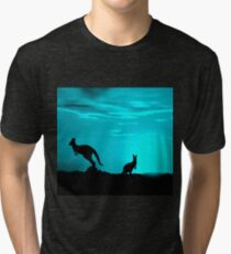 Kangaroos silhouettes at Sunset Tri-blend T-Shirt