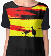 Kangaroos silhouettes at Sunset Chiffon Top