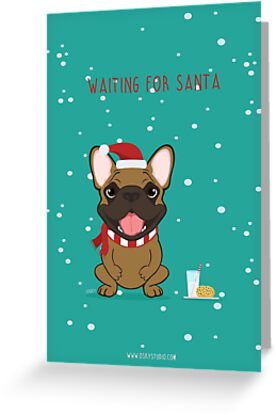 Frenchie Waiting for Santa - Fawn Edition by OSKY