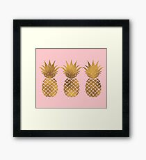 Pink and Gold Pineapple Framed Print