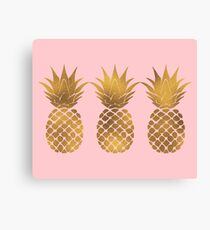 Pink and Gold Pineapple Canvas Print
