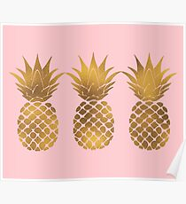 Pink and Gold Pineapple Poster