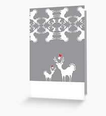 Cervidae Deer Pattern with Heart Greeting Card