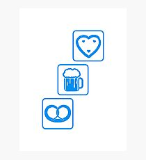 cool design drinking team pretzels beer pitcher drinking drinking party celebrate gingerbread heart pitcher fun eating hunger drinking alcohol symbol cool shirt oktoberfest Photographic Print