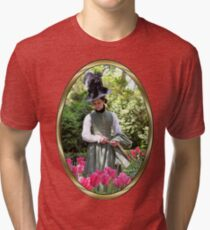 A Colonial Lady in Her Garden Tri-blend T-Shirt