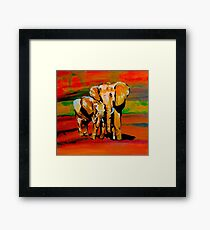 Bright mother and baby elephant Framed Print