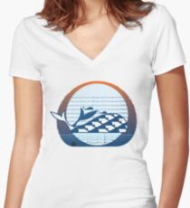 Whale Migration Women's Fitted V-Neck T-Shirt