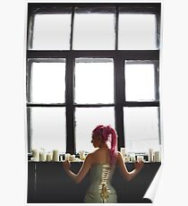 Young woman with dreadlocks wearing corset Poster