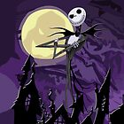 Halloween Skinny Ghost with purple sky by Galih Sanjaya Kusuma wiwaha