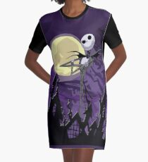 Halloween Skinny Ghost with purple sky Graphic T-Shirt Dress