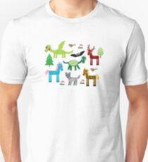 Seamless pattern with funny dragons, bats, unicorn, horse, deer, bird, wolf Unisex T-Shirt
