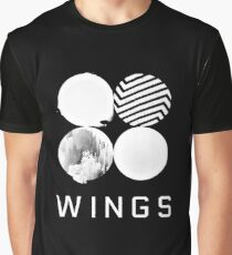 BTS Wings Logo (Schwarz) Grafik T-Shirt