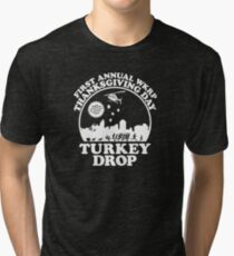 First Annual WKRP Thanksgiving Day - Turkey Drop  Tri-blend T-Shirt
