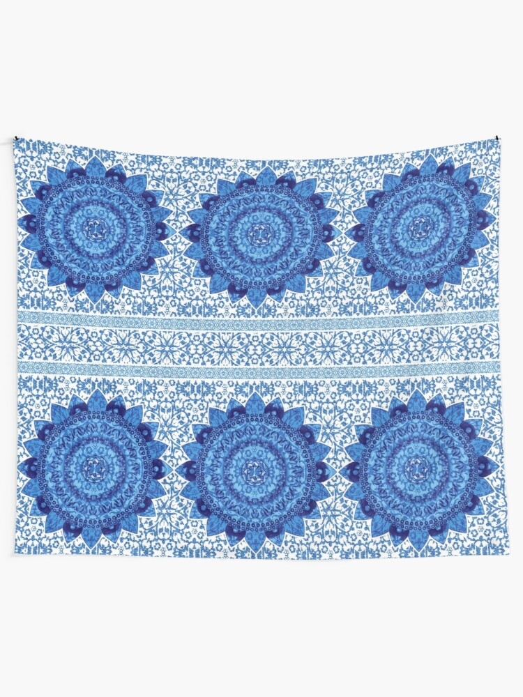 Alternate view of Blue Glitter Jacquard Mandalas Tapestry