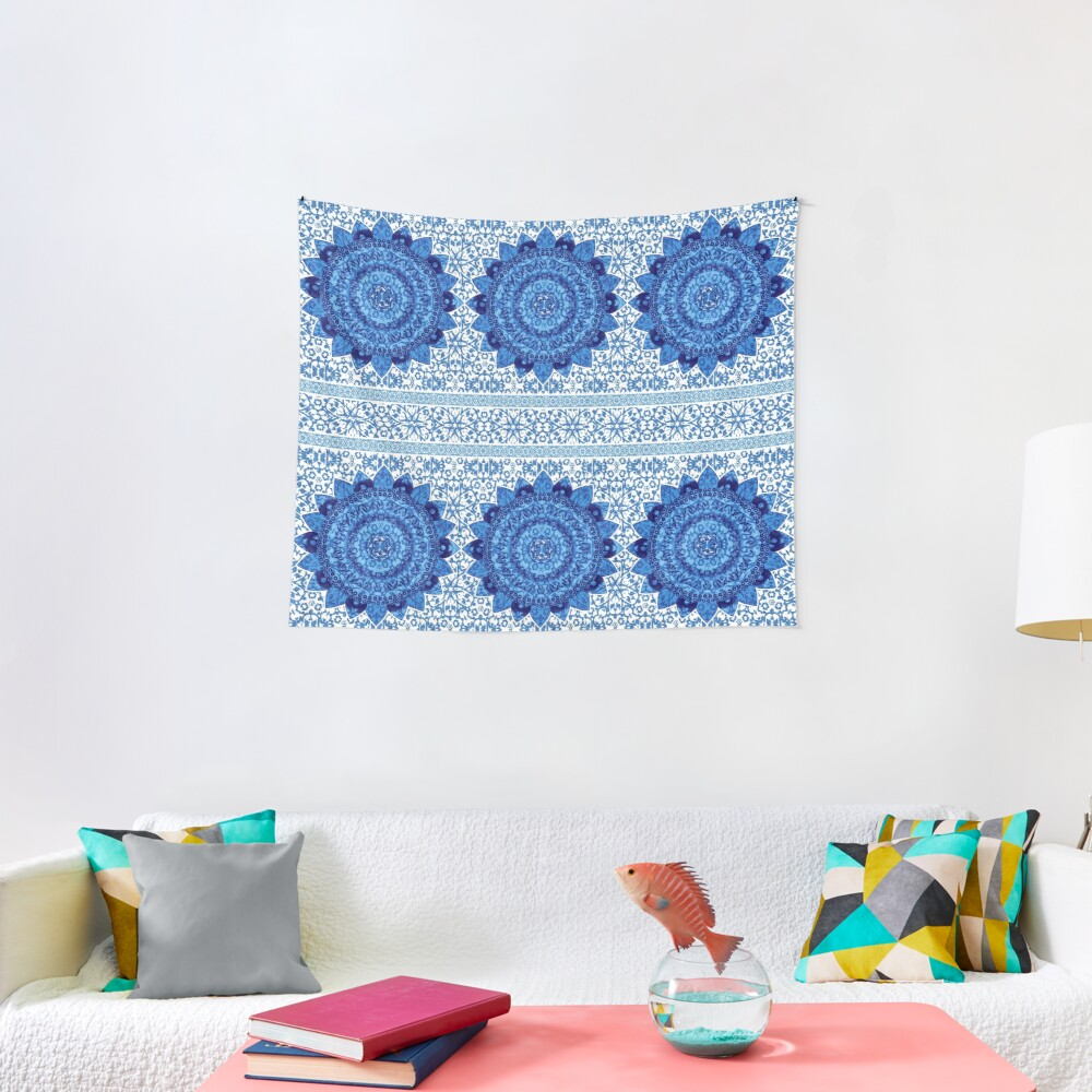 Blue Glitter Jacquard Mandalas Tapestry