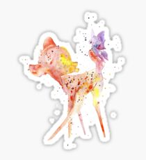 Bambi With Butterfly, Watercolor Art, Gift For Kids, Sticker