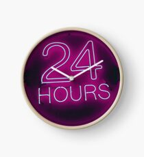 24 hrs in pink Clock