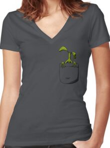 In Pocket Women's Fitted V-Neck T-Shirt