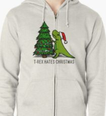 T-Rex Hates Christmas Zipped Hoodie