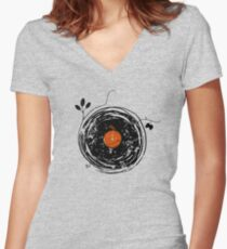 Bezaubernde Schallplatten Vintage Tailliertes T-Shirt mit V-Ausschnitt