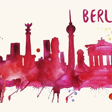 Berlin Skyline Watercolor Cityscape Painting by beautifymywalls