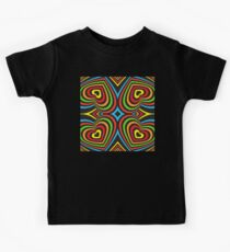 Colourful hearts on black  Kids Tee