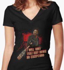 Negan Walking Dead Women's Fitted V-Neck T-Shirt